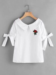 Sailor Collar Rose Patch Bow Tie Sleeve Blouse