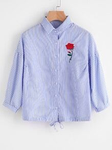 Pinstriped Rose Embroidered Tie Hem Shirt