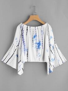 Boat Neckline Fluted Sleeve Water Color Blouse