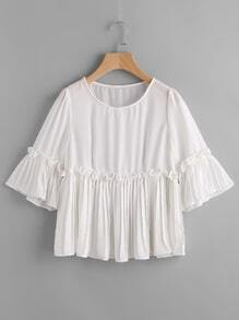 Frill Hem Pleated Smock Chiffon Blouse