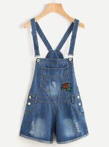 Ripped Applique Rolled Denim Overall Shorts