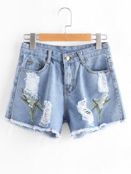 Embroidery Ripped Frayed Hem Denim Shorts