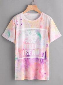 Tie Dye Graphic Print Tshirt