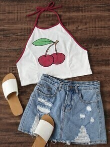 Cherry Print Ringer Crop Halter Top