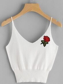 Ribbed Hem Applique Crop Cami Top