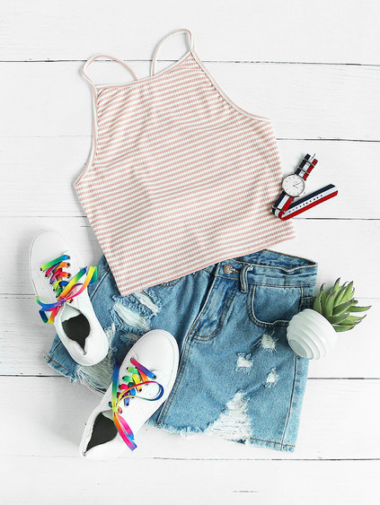Striped Crop Halter Top