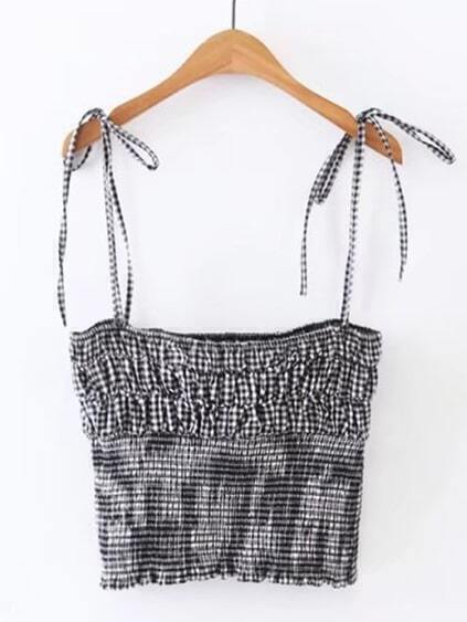 Gingham Tie Detail Cami Top