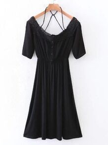 Contrast Lace Caged Back A Line Dress