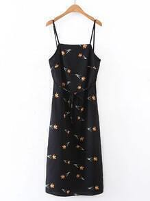 Floral Open Back Cami Dress With Self Tie