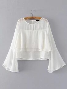 Bell Sleeve Layered Chiffon Blouse