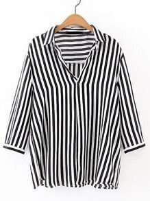 Contrast Striped Work Blouse