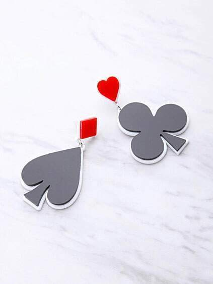 Two Tone Poker Symbol Drop Earrings