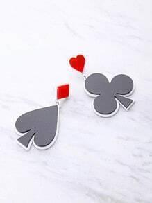 Pendientes con símbolo de póquer en dos tonos