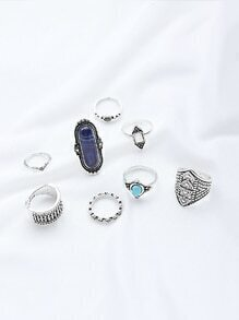 Multi Shaped Gemstone Etched Ring Pack