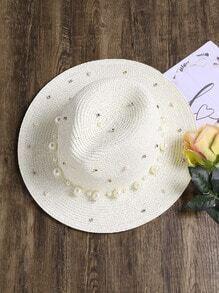 Sombrero fedora de paja con perla de imitación