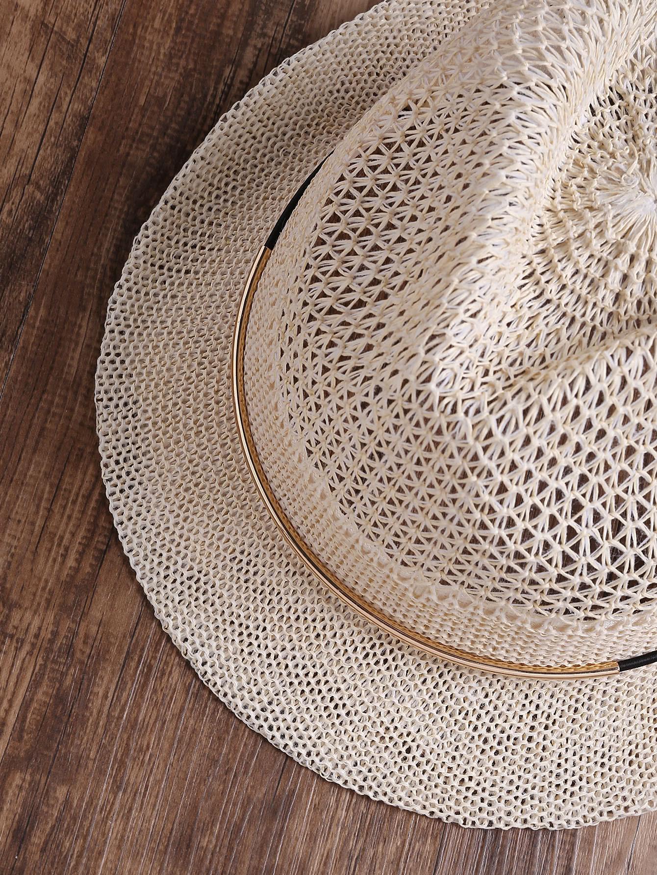 chapeau en tricot de paille en m tal french romwe. Black Bedroom Furniture Sets. Home Design Ideas