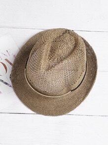 Sombrero borsalino de paja con cinta de metal