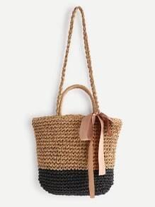 Buy Tassel Detail Color Block Straw Shoulder Bag Handle