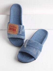 Patch Detail Denim Flat Slippers