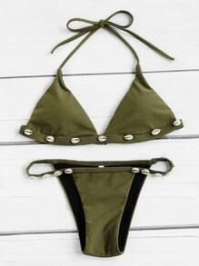 Shell Embellished Triangle Bikini Set