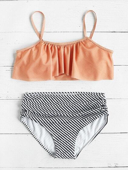 Striped Print Mix & Match Flounce Bikini Set