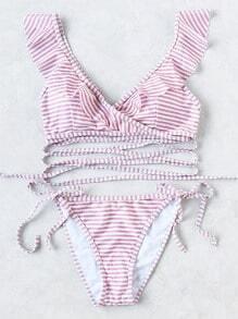 Gestreifte Rüschen V-Ausschnitt Riemchen Bikini Set