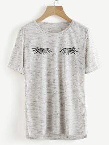Tee-shirt imprimé en espace teint