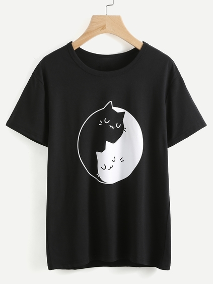 Camiseta estampada de gatos