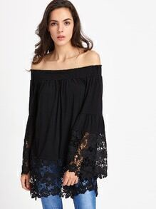 Bardot Crochet Lace Trim Top