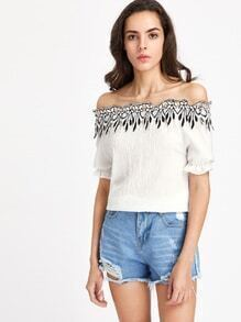 Bardot Contrast Crochet Lace Trim Pleated Blouse