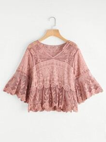 Flute Sleeve Lace Embroidered Mesh Top