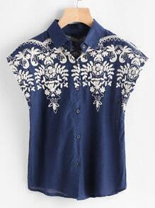 Cap Sleeve Embroidered Blouse