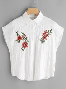 Cap Sleeve Floral Embroidered Pleated Blouse
