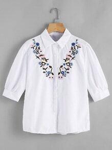 Blusa de manga estrechada bordada de flor