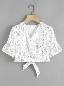 Flute Sleeve Texture Dots Bow Open Back Blouse