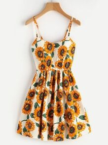 Sunflower Print Random Lace Up Back A Line Cami Dress