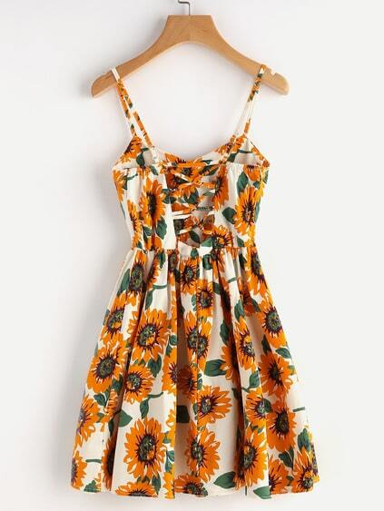 Romwe / Sunflower Print Random Lace Up Back A Line Cami Dress