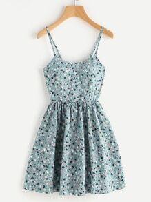 Vestido de tirante línea A de espalda con cordón con estampado de margarita de los prados al azar