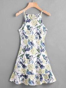 Vestido de tirante fruncido de espalda con cremallera con estampado floral al azar