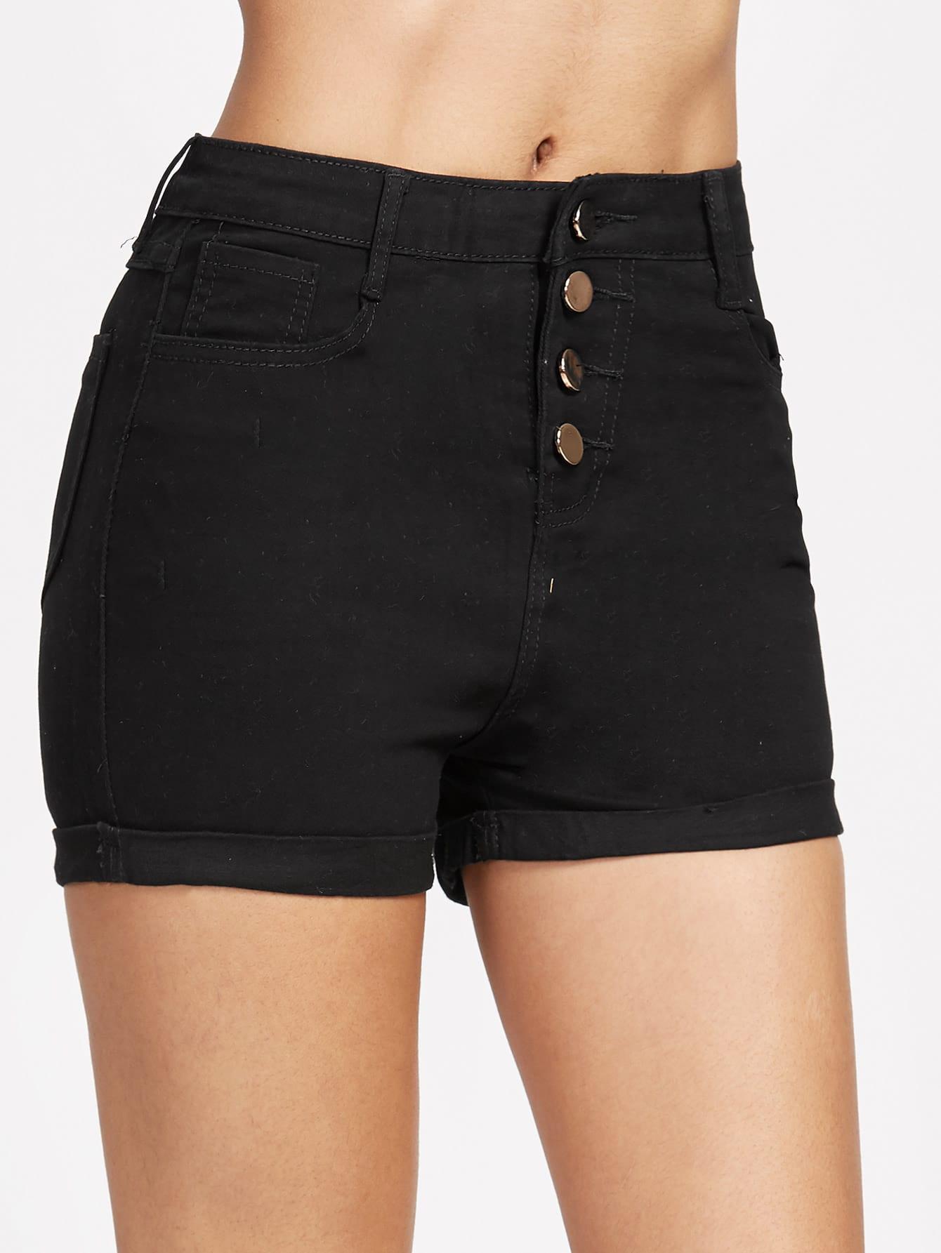 Single Breasted Cuffed Chambray Shorts