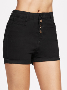 Single Breasted Cuffed Chambray Shorts