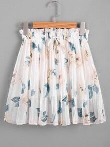 Floral Print Random Drawstring Waist Pleated Skirt