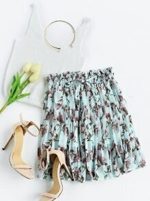 Floral Print Random Drawstring Waist Pleated Skirt