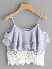 Layered Contrast Lace Hem Cami Top