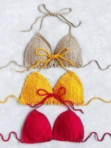 Random Color Crochet Triangle Bikini Top 1pc