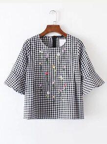 Bell Sleeve Checkered Zipper Back Top