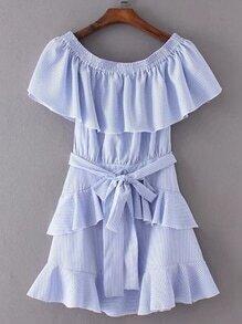 Boat Neckline Ruffle Trim Pinstripe Dress With Self Tie