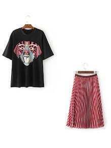 Camiseta con estampado de mueca con falda línea larga