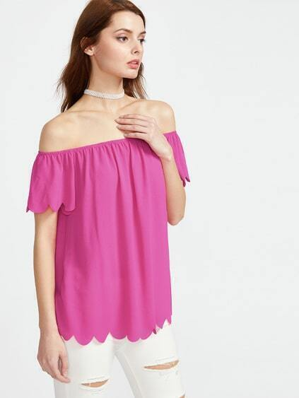 Scalloped Off The Shoulder Top