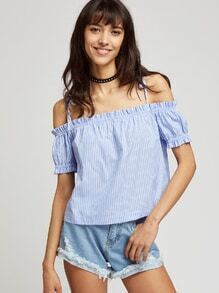 Pinstripe Self Tie Cold Shoulder Frill Top